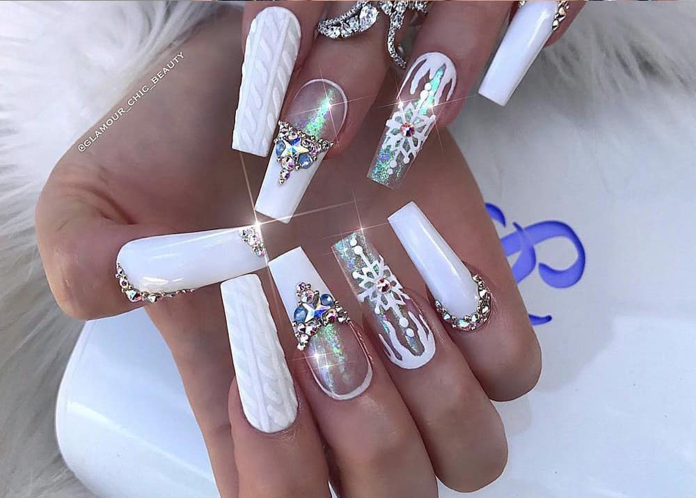 32 Extraordinary White Acrylic Nail Designs to Finish Your Trendy ...
