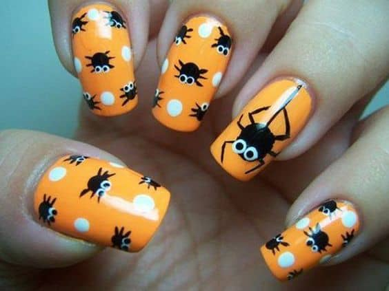 Easy Halloween Nail Art Designs Ideas with Pictures and Steps - Polka Dot spiders