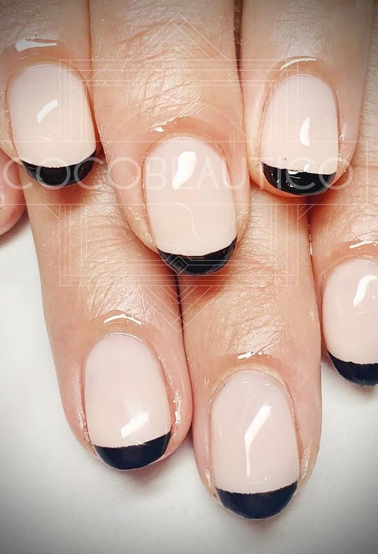 Ever spotted these kind of manicure? A Reverse Manicure is the reverse take on the Famous French and highlights the lower part of your nail known as the half moon. #reverse #manicure #nailart #naildesigns