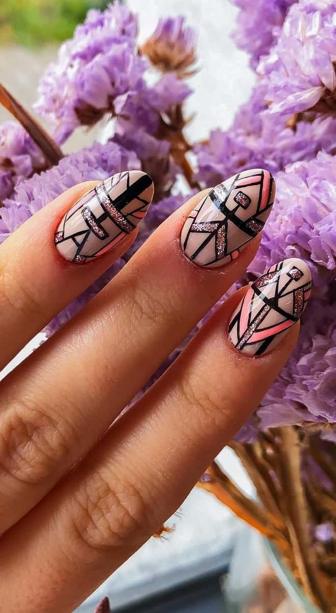 Amazing Pointed Nail Design to Have and Cherish - Tribal Effect