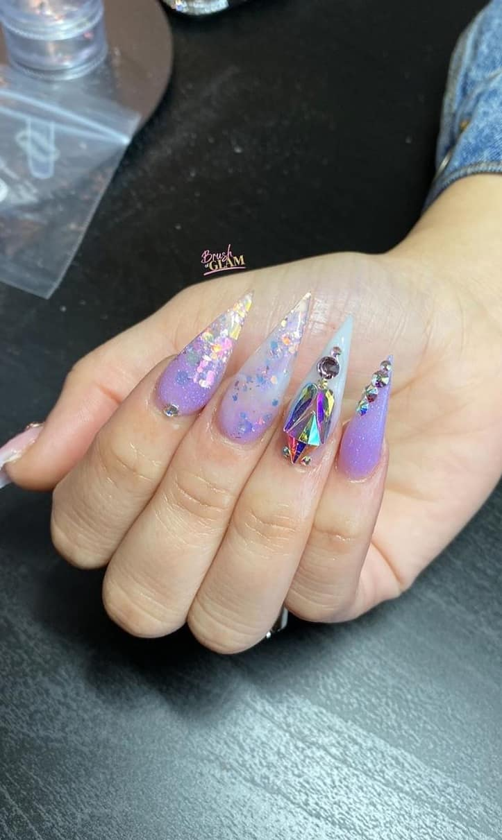 Amazing Pointed Nail Design to Have and Cherish - Studs and Rhinestones