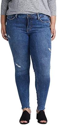 Silver Jeans Co. Women's Plus Size Elyse Curvy Mid Rise Skinny Fit Jean