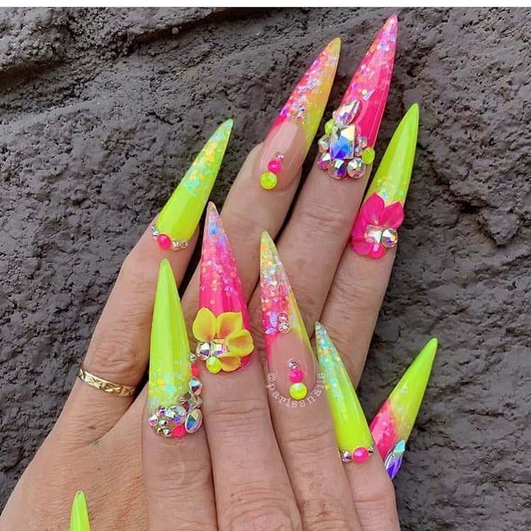 stiletto nails ideas | yellow stiletto nails