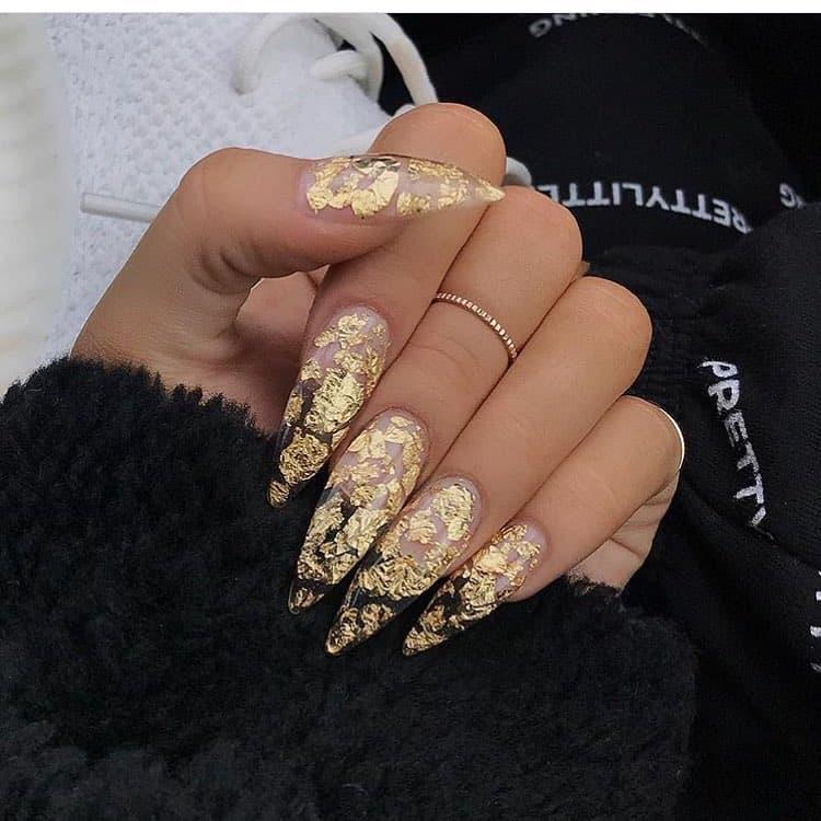 stiletto nails ideas | gold stiletto nails