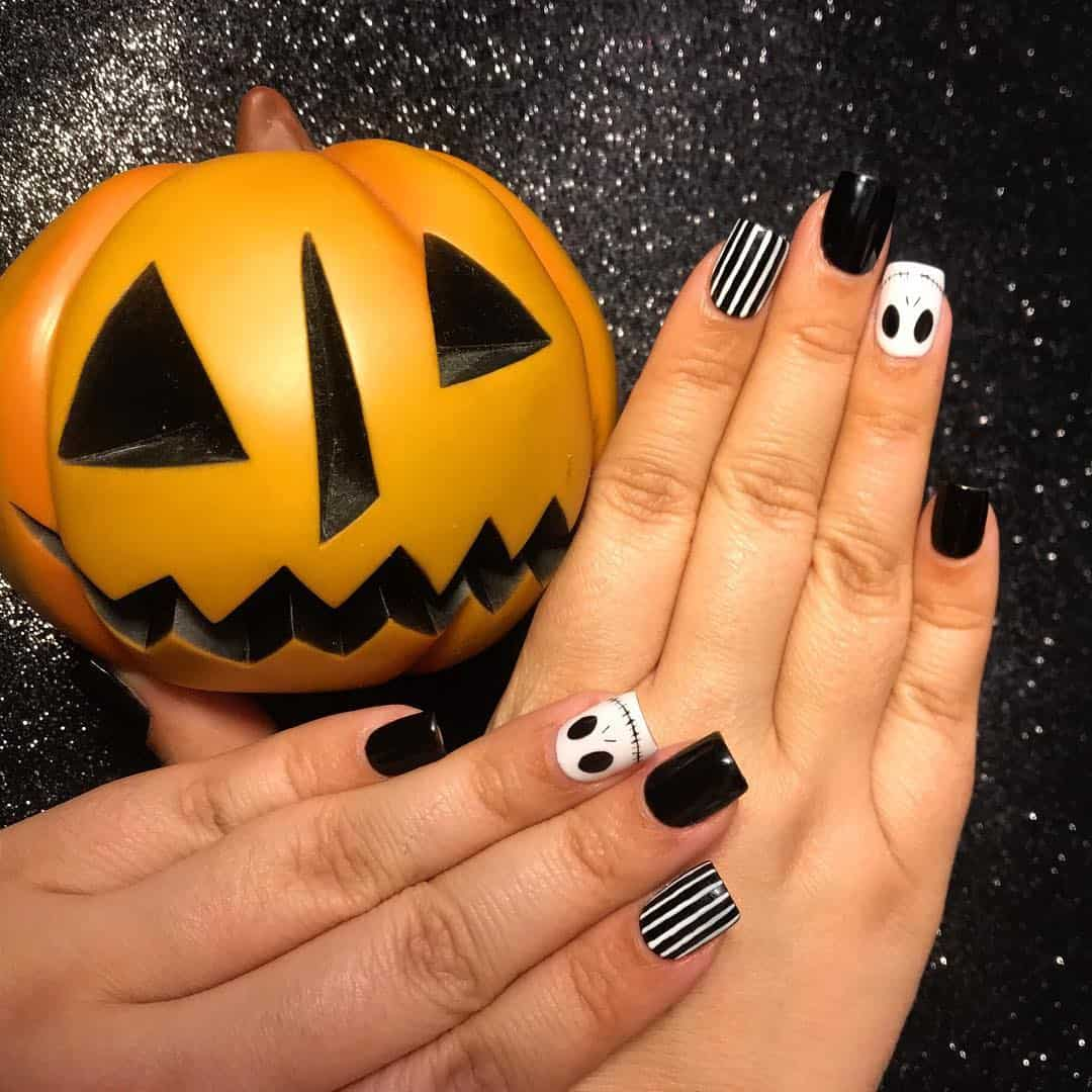 Easy Halloween Nail Art Designs Ideas with Pictures and Steps - Jack Skellington