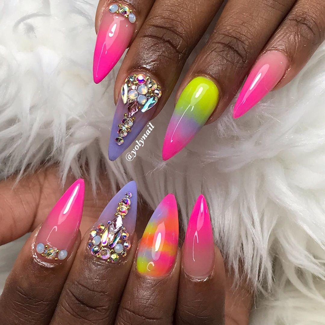 stiletto nails ideas | holographic stiletto nails
