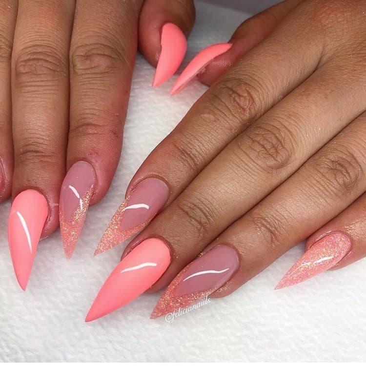 stiletto nails ideas | stiletto french tip nails