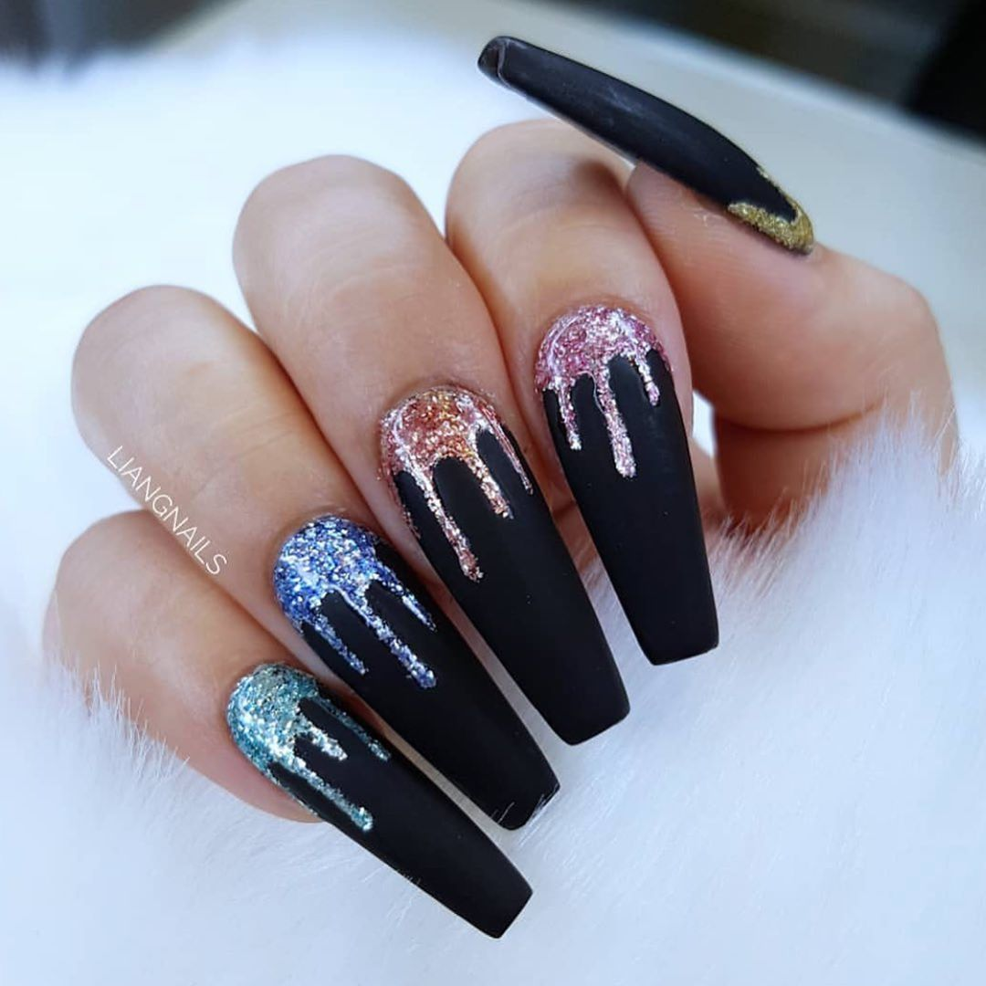 Long Nail Designs To Inspire You - Black Combo