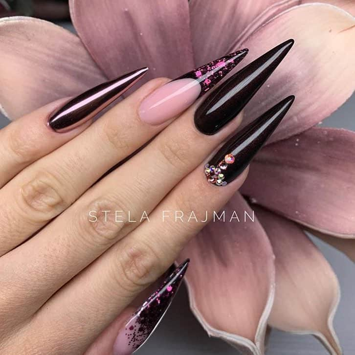 stiletto nails ideas | black stiletto acrylic nails