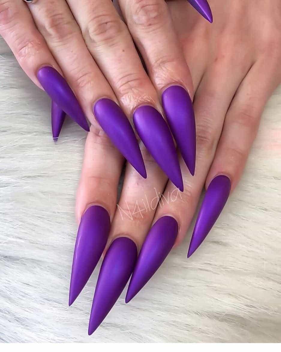 stiletto nails ideas | matte purple nude stiletto nails