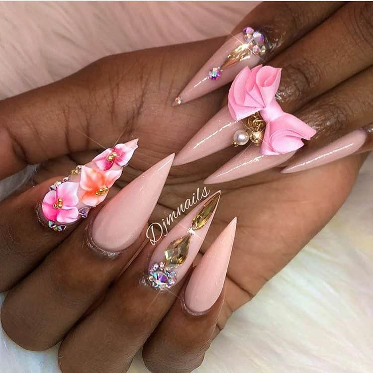 stiletto nails ideas | floral stiletto nails
