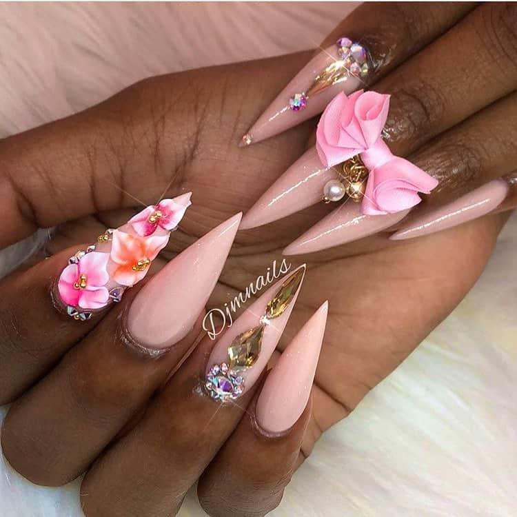 stiletto nails ideas | floral stiletto nails
