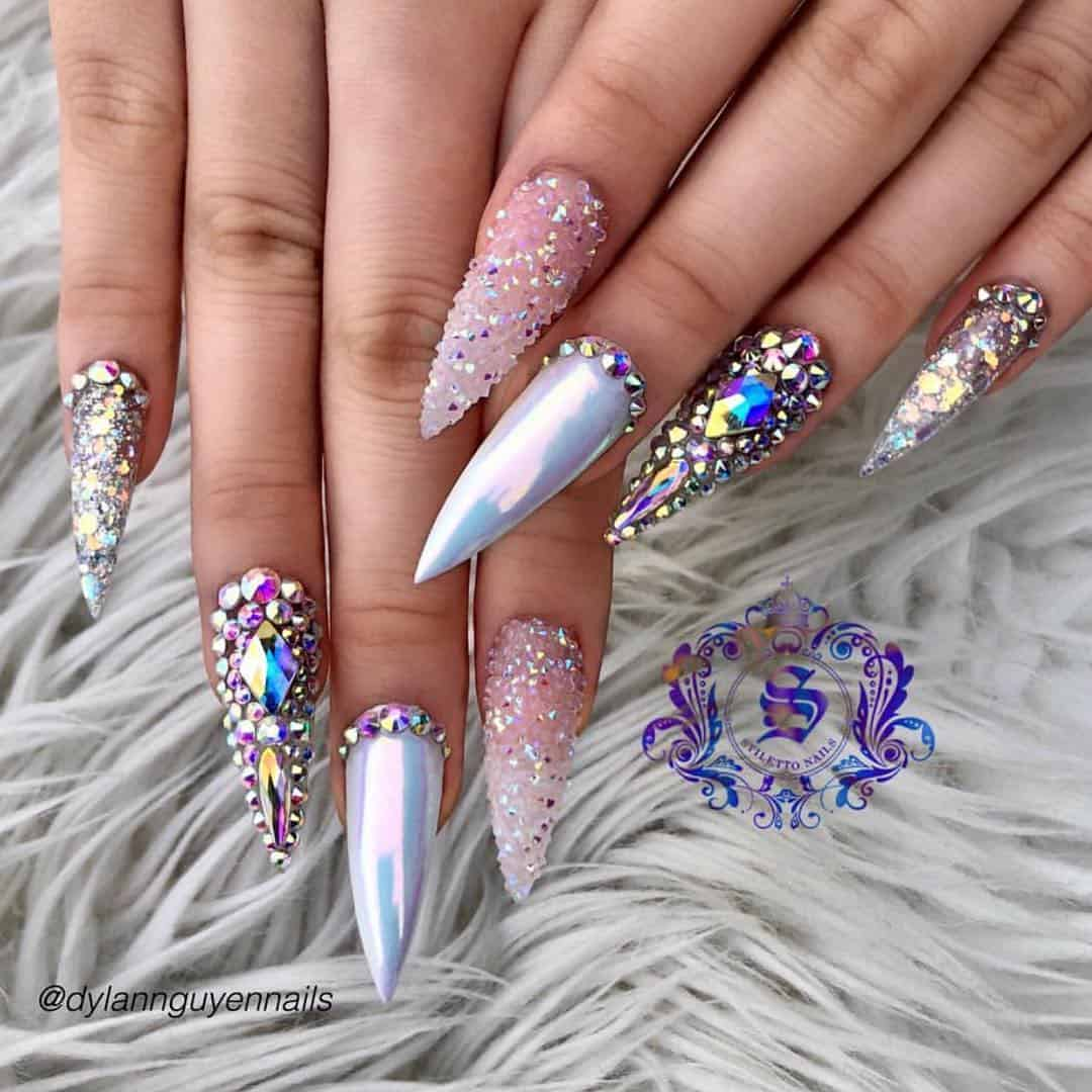 stiletto nails ideas | rhinestone stiletto nails