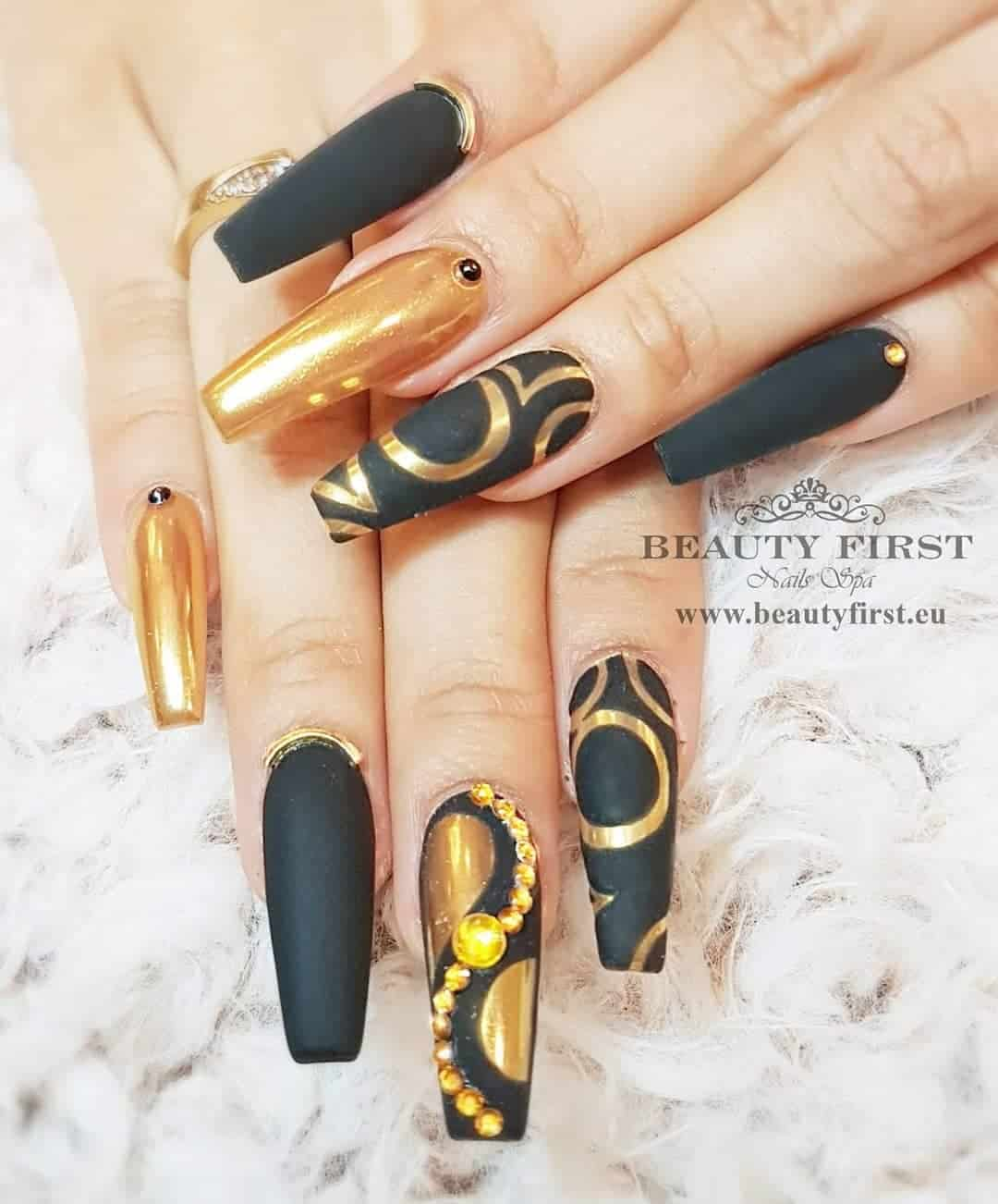 Long Nail Designs To Inspire You - Black and Gold Effect