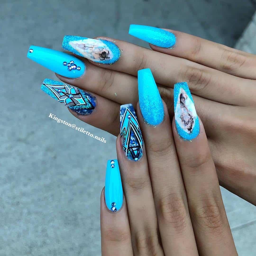 stiletto nails ideas | blue geometric stiletto nails