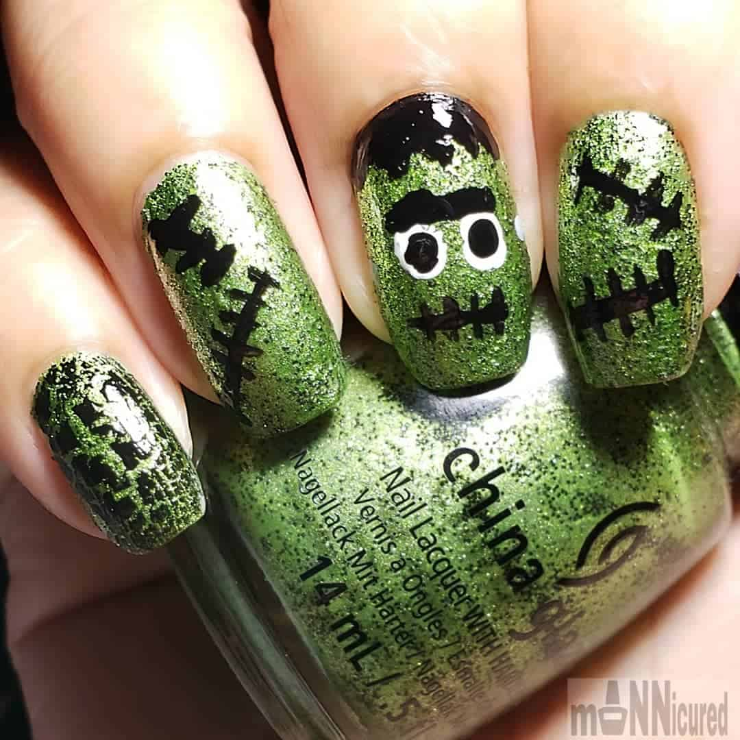 Easy Halloween Nail Art Designs Ideas with Pictures and Steps - Frankenstein nail design