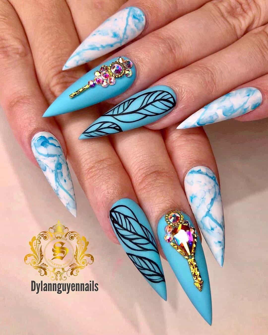 stiletto nails ideas | blue stiletto nails