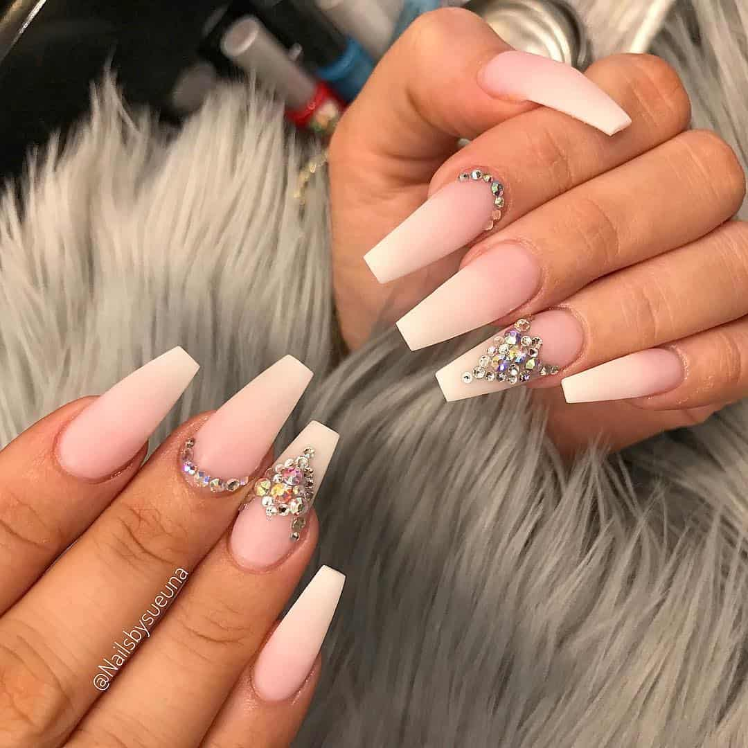 Amazing Matte Acrylic Nails When You Are Tired of the Glossy Ones - Rhinestone Accents