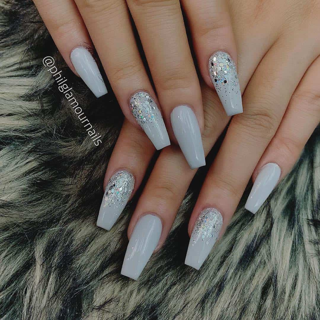 32 Extraordinary White Acrylic Nail Designs to Finish Your Trendy Look - White Coffin Acrylic Nails