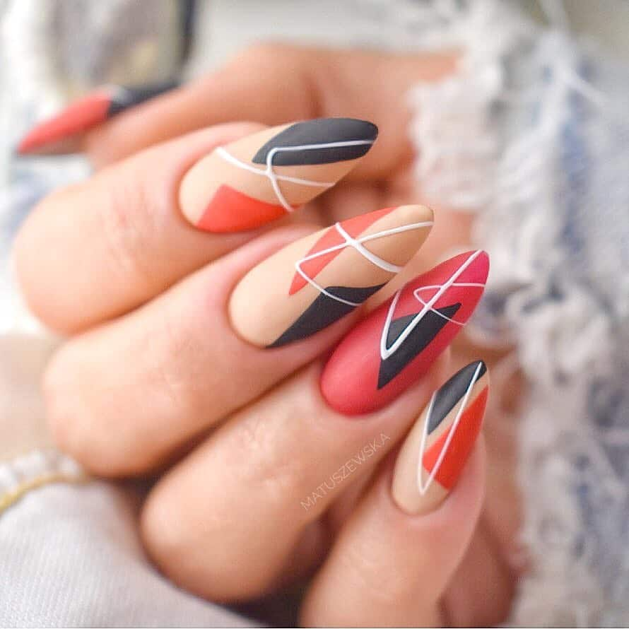 Amazing Matte Acrylic Nails When You Are Tired of the Glossy Ones - Geometric Designs