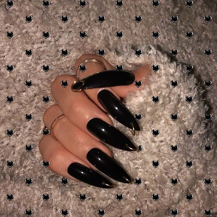 30 Creative Designs for Black Acrylic Nails That Will Catch Your Eye - Black Pointed Acrylic Nails