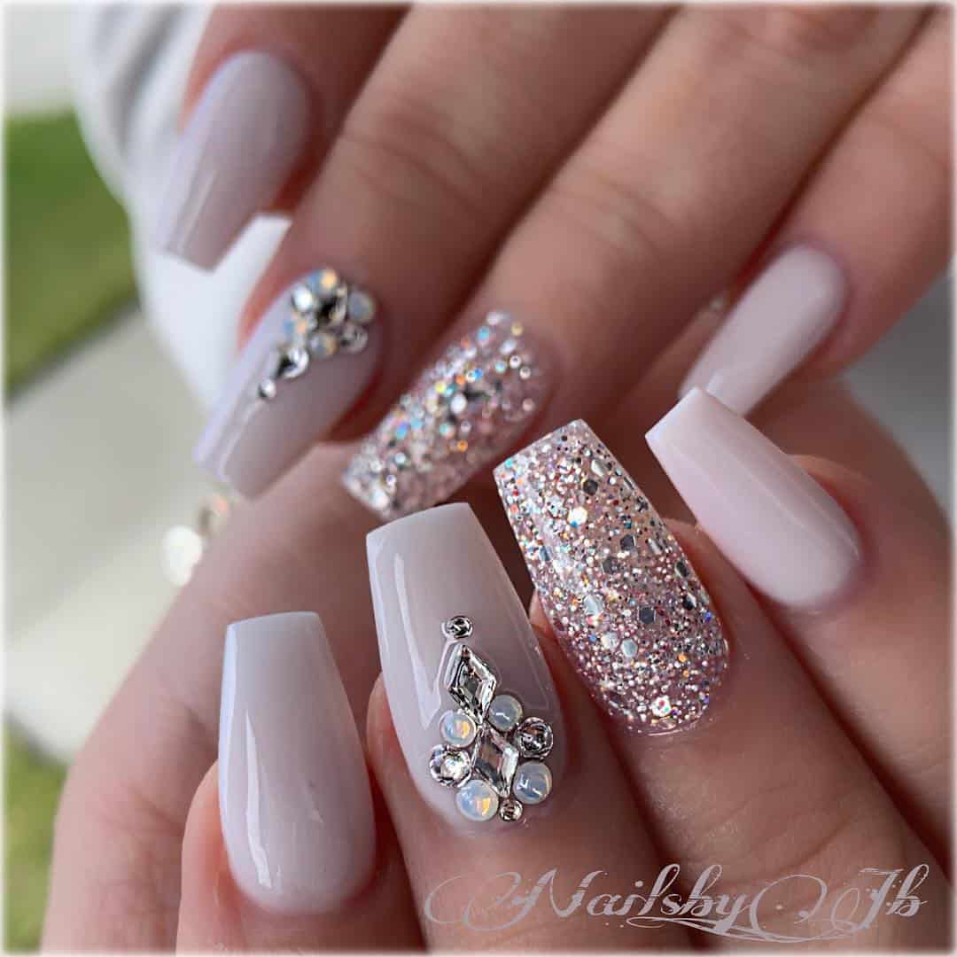 21 Elegant Design Coffin Acrylic Nails You Should Try Right Now - Coffin Shaped Nails with Rhinestones