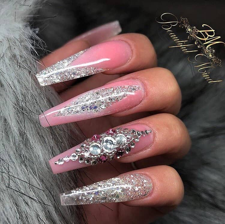 32 Super Cool Pink Nail Designs That Every Girl Will Love - Pink Acrylic Nails with Glitter