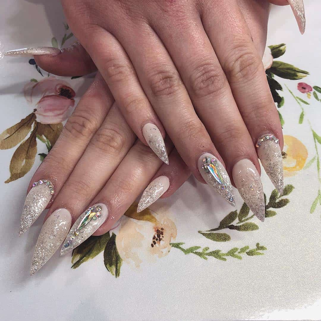 70 Trendy Designs Acrylic Nails To Try Once - Rhinestone Nails Designs