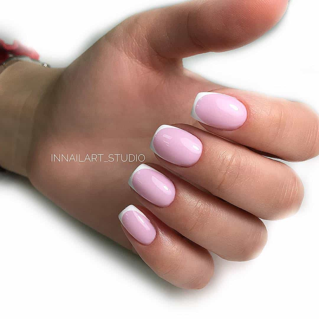 Intricate Designs For The Short Acrylic Nails - Rounded French Tip Nails