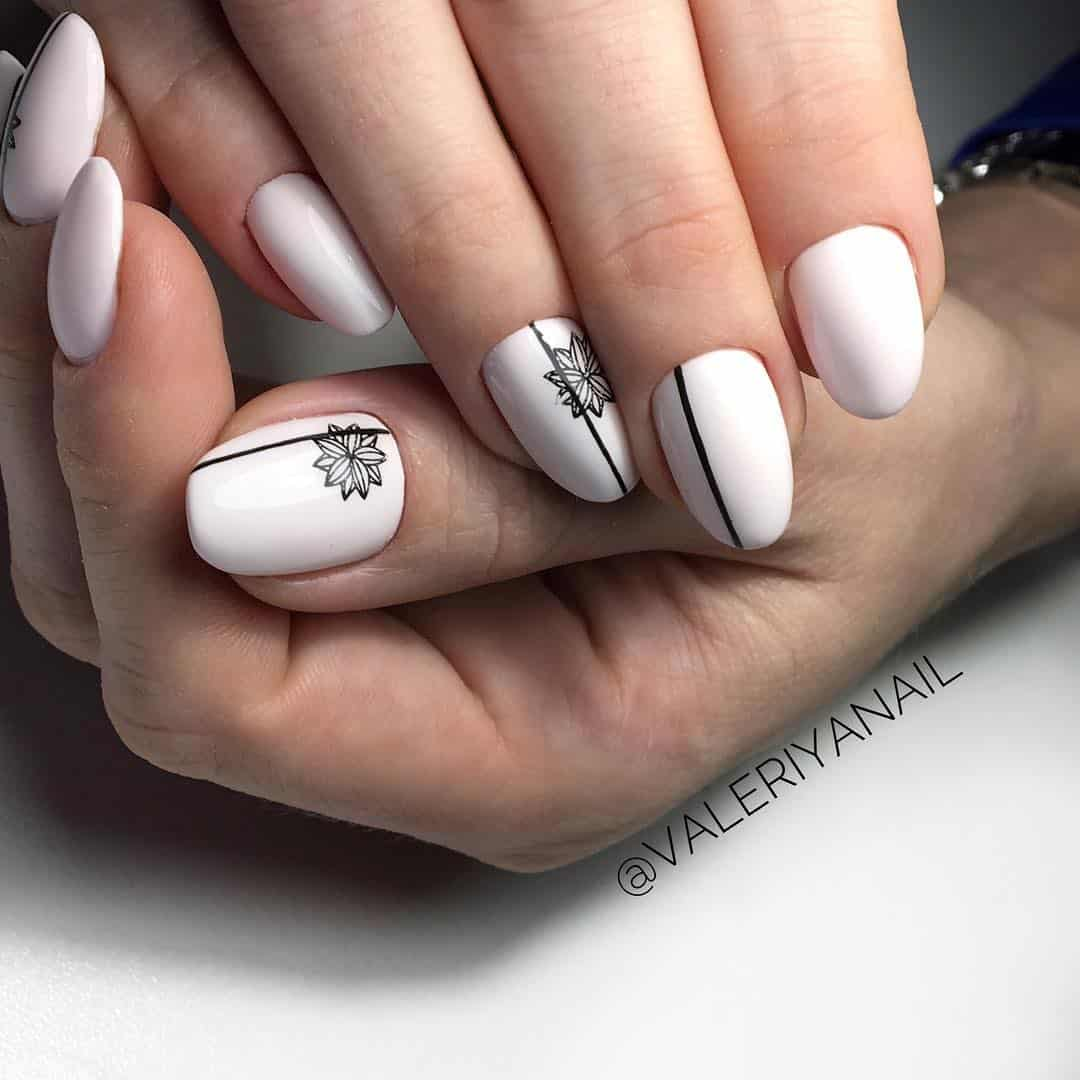 32 Extraordinary White Acrylic Nail Designs to Finish Your Trendy Look - White Oval Acrylic Nails