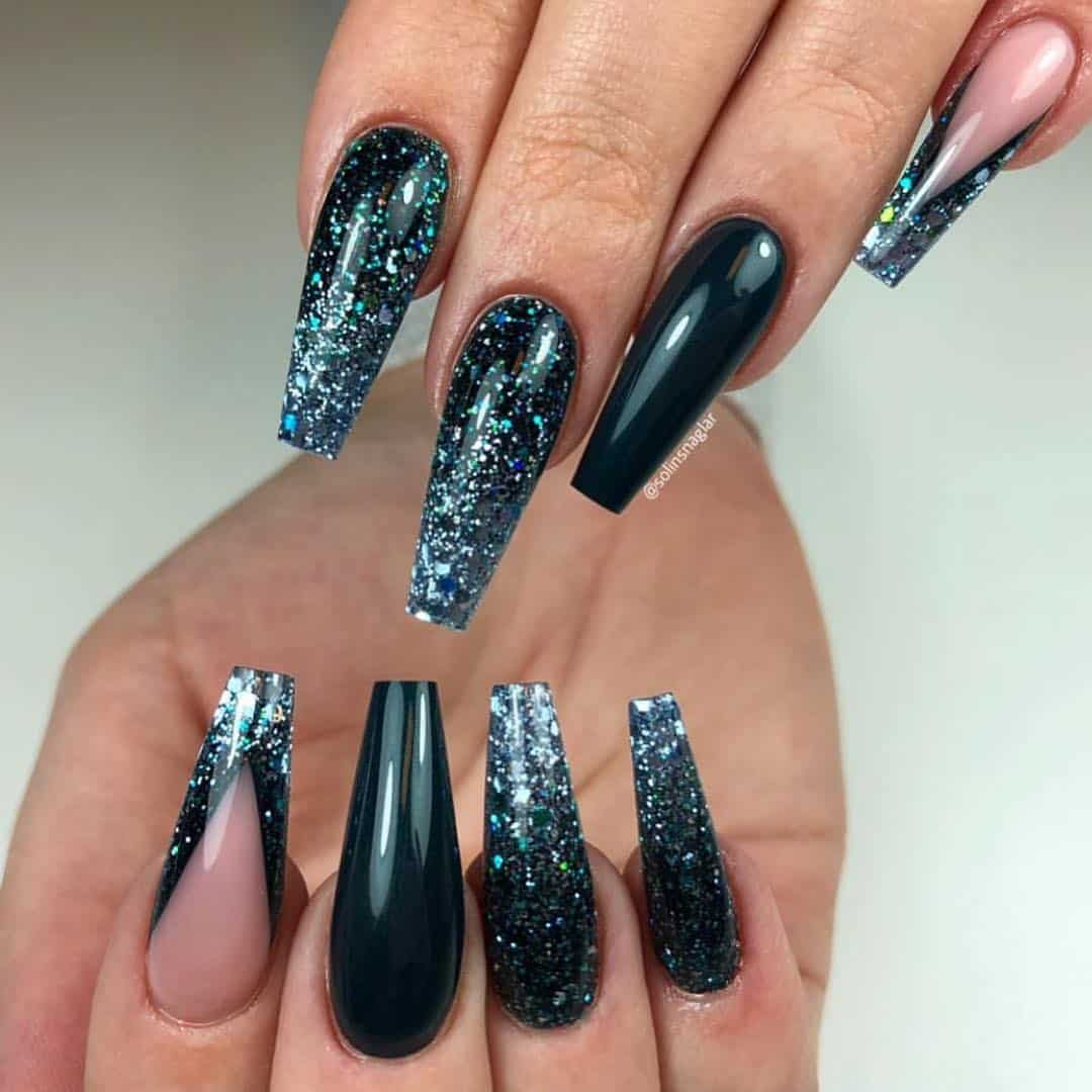 30 Creative Designs for Black Acrylic Nails That Will Catch Your Eye - Black Acrylic Nails with Glitter