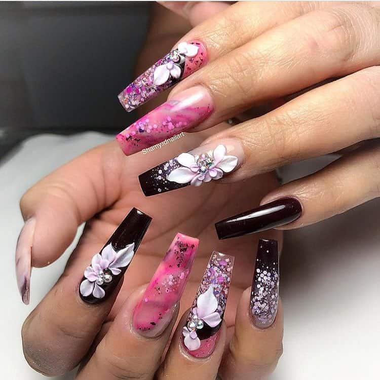 21 Elegant Design Coffin Acrylic Nails You Should Try Right Now - Acrylic Coffin Nails with Flower Design