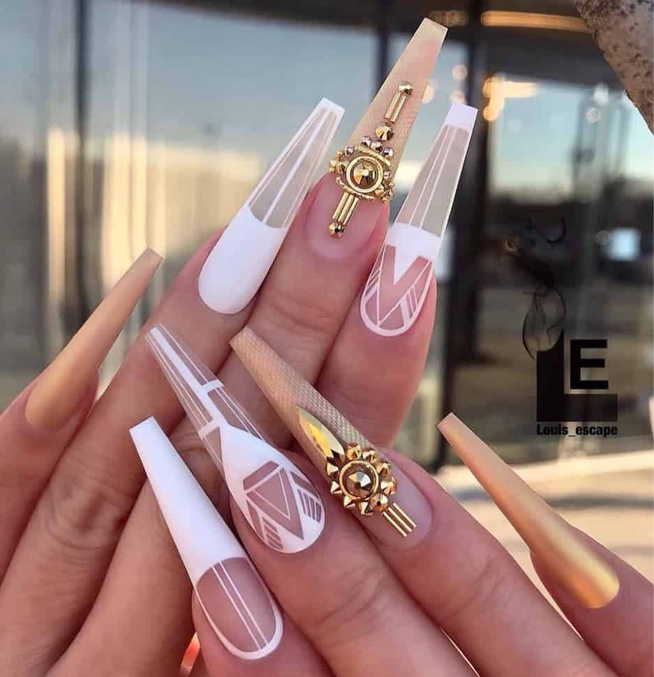 70 Trendy Designs Acrylic Nails To Try Once - Geometric Nail Art