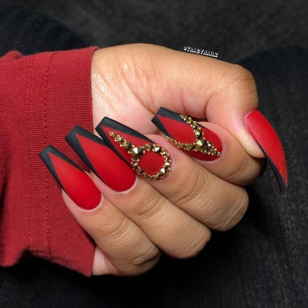 18 Creative Acrylic Nail Designs With The Red Shade Every Girl Will Secretly Adore - Black and Red Nail Designs
