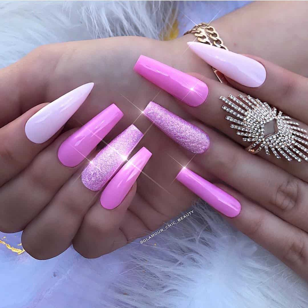 70 Trendy Designs Acrylic Nails To Try Once - Acrylic Nails with Glitter Accents