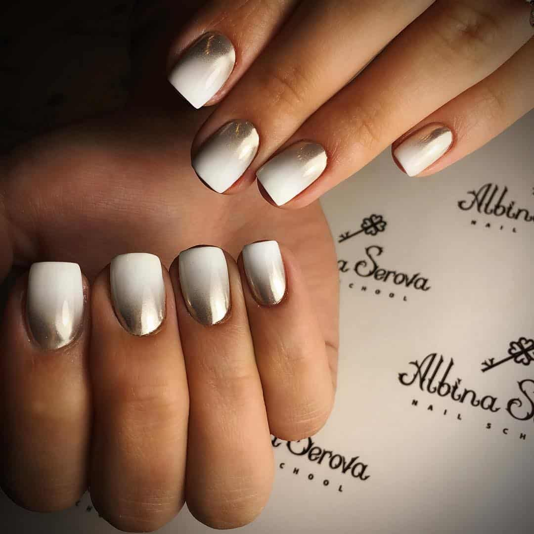 32 Extraordinary White Acrylic Nail Designs to Finish Your Trendy Look - Shiny Metallic White Acrylic Nails