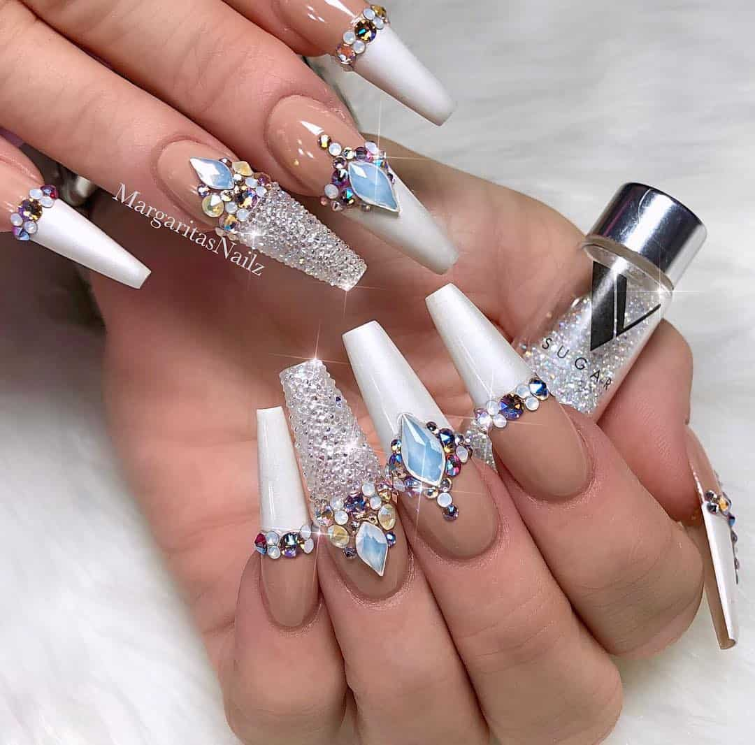 32 Extraordinary White Acrylic Nail Designs to Finish Your Trendy Look - White Acrylic Nail Designs with Rhinestones