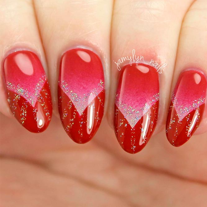 18 Creative Acrylic Nail Designs With The Red Shade Every Girl Will Secretly Adore - Red Almond Nails