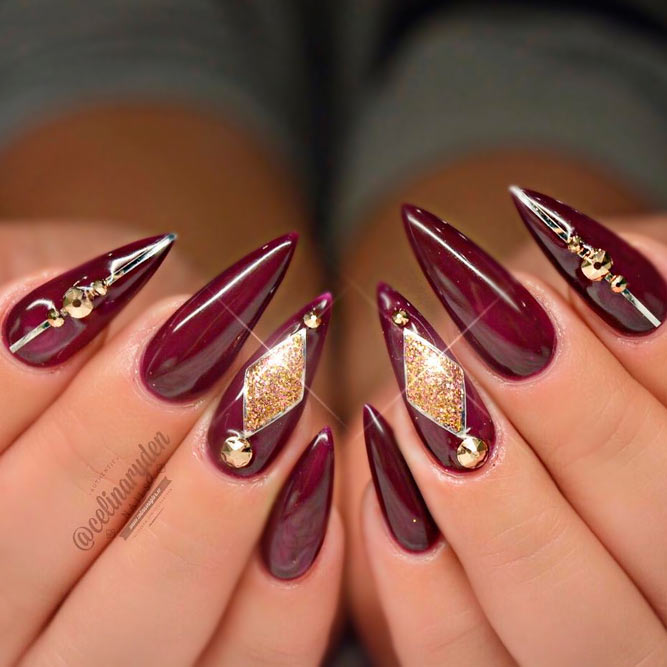 18 Creative Acrylic Nail Designs With The Red Shade Every Girl Will Secretly Adore - Dark Red Nails Design