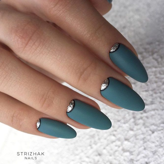 Amazing Matte Acrylic Nails When You Are Tired of the Glossy Ones - Half Moon Accents