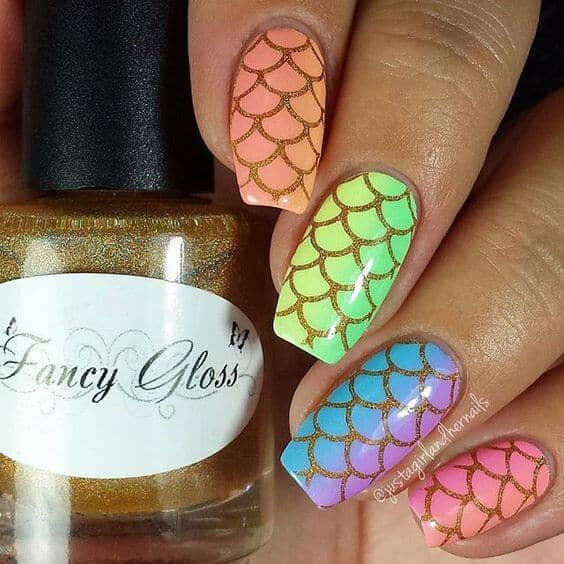 21 Elegant Design Coffin Acrylic Nails You Should Try Right Now - Ocean Themed Nail Art